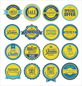 Kolekcja starych etykiet do sprzedaży i firm