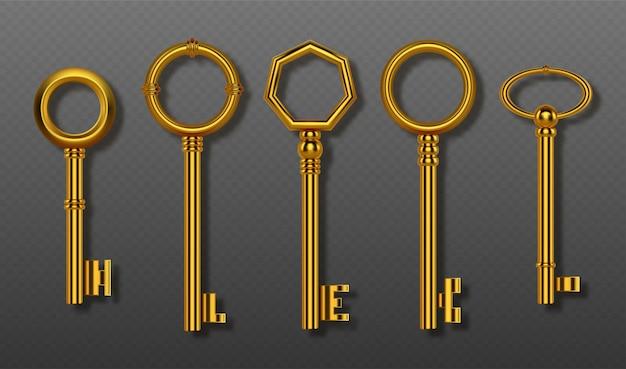 Kolekcja starych kluczy złota ścieżka przycinająca realistyczny zestaw vintage ozdobnych złotych kluczy do drzwi domu zamka lub skarbu d błyszczące symbole tajnego bezpieczeństwa i prywatności na białym tle