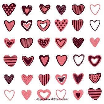 Kolekcja starych ręcznie rysowane serca