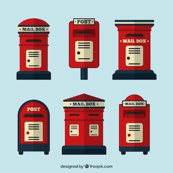 Kolekcja starych skrzynek pocztowych w płaskiej konstrukcji