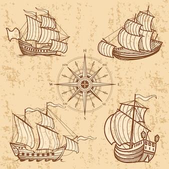 Kolekcja starych statków. zestaw antycznych łodzi podróżnych