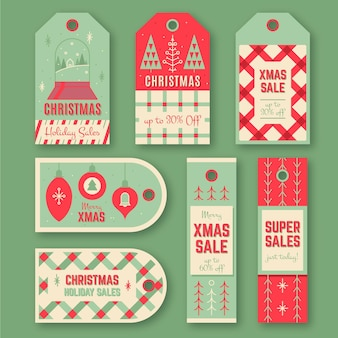 Kolekcja starych tagów sprzedaży świątecznej