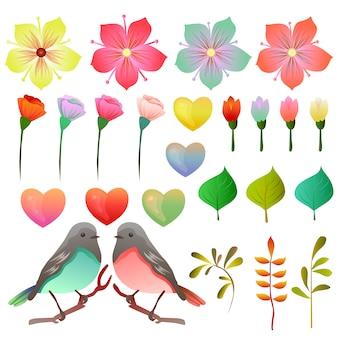 Kolekcja stock valentine z ptakiem i kwiatów