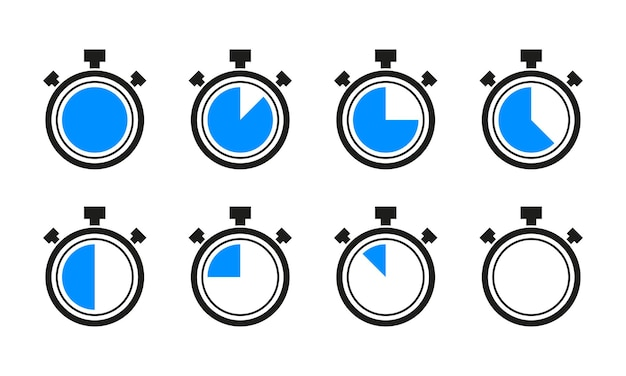 Kolekcja stoper zegar zegar izolated na białym tle. ilustracja wektorowa.