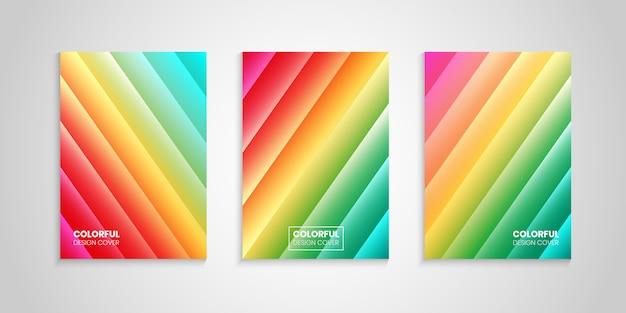 Kolekcja streszczenie jasne kolorowe okładki