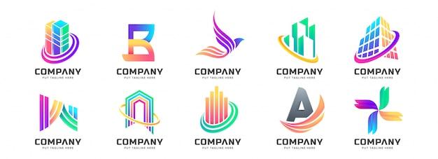 Kolekcja streszczenie kolorowe logo
