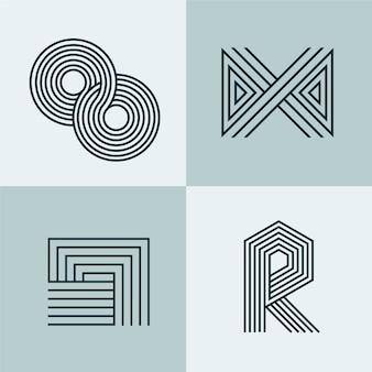 Kolekcja streszczenie logo liniowe