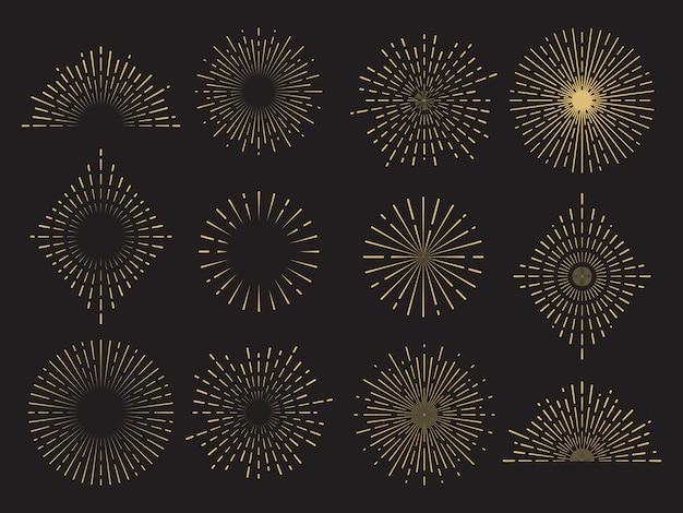 Kolekcja streszczenie wybuch słońca - ręcznie rysowane zestaw linii słońca