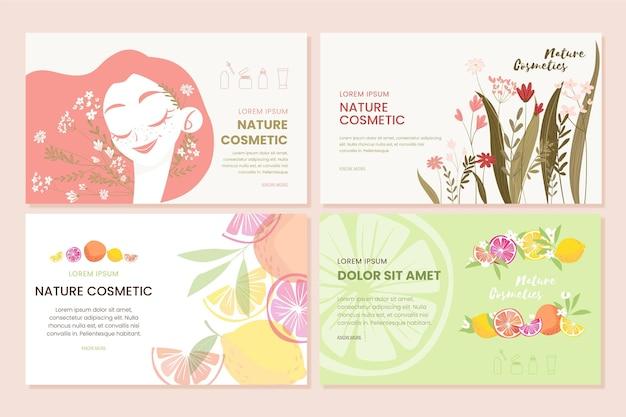 Kolekcja strony docelowej kosmetyków natury