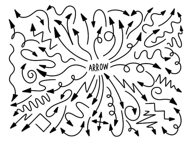 Kolekcja strzałek ręcznie rysowane styl. rysowanie projektu elementu linii.