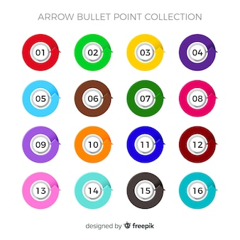Kolekcja strzałka punktor płaskie