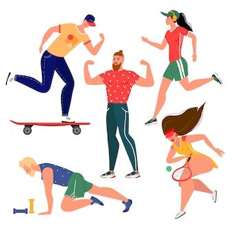 Kolekcja stylowych ludzi uprawiających sport. płaski styl. odosobniony