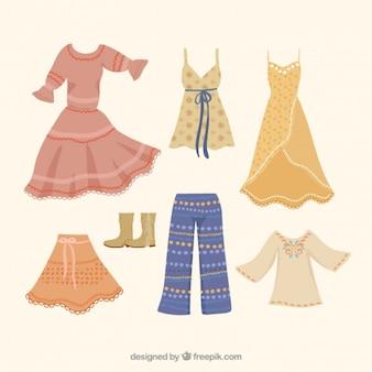 Kolekcja stylowych ubrań boho