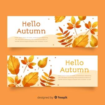Kolekcja stylu jesień akwarela transparent