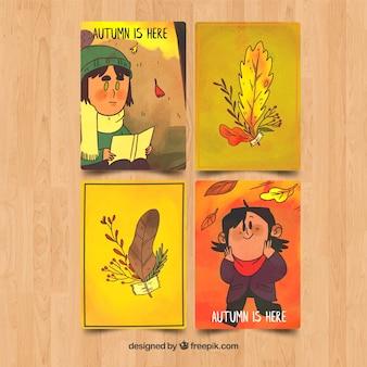 Kolekcja stylu jesień karty akwarela