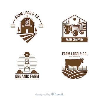 Kolekcja stylu płaski logo gospodarstwa