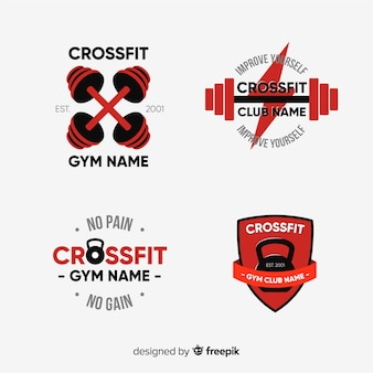 Kolekcja stylu płaskiego logo crossfit