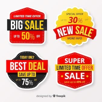 Kolekcja stylu płaskiej etykiety sprzedaży