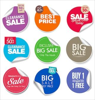 Kolekcja super sprzedaży i odznaki cenowej i etykiet