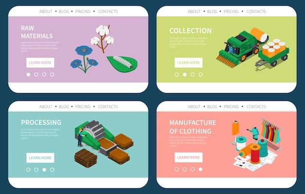 Kolekcja surowców przemysłu tekstylnego przetwarzanie tkanin szablon strony internetowej do produkcji odzieży