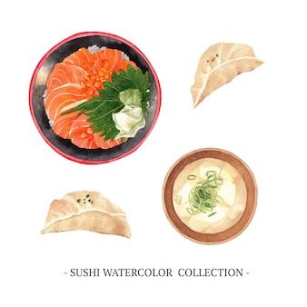 Kolekcja sushi na białym tle akwarela