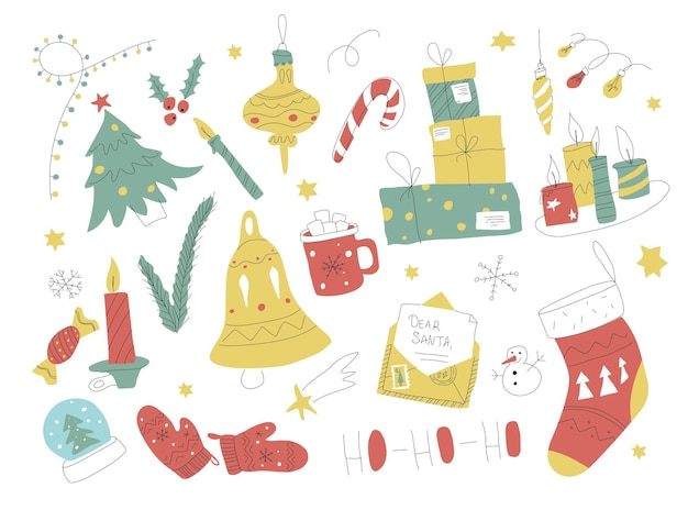 Kolekcja świąteczna doodle ręcznie rysowane zestaw świąteczny z elementami światła świec i prezentami zarys