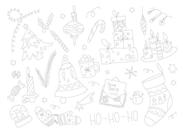 Kolekcja świąteczna doodle ręcznie rysowany zestaw świąteczny z elementami światła świec i prezentami zarys grap