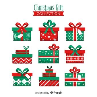 Kolekcja świąteczna prezenty płaskie