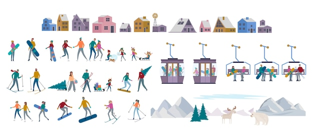 Kolekcja świąteczna w alpach zimowych. zestaw aktywnych ludzi na łyżwach, nartach, snowboardzie, sankach, zimą, góry