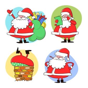 Kolekcja świątecznego świętego mikołaja