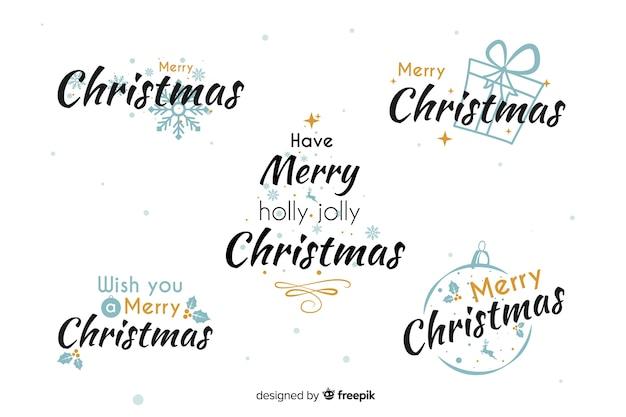 Kolekcja świątecznej etykiety w płaskiej konstrukcji