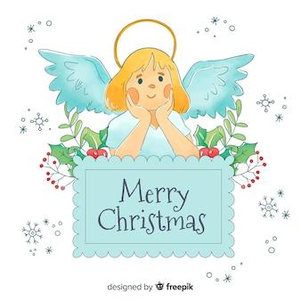 Kolekcja świątecznych aniołów w akwareli