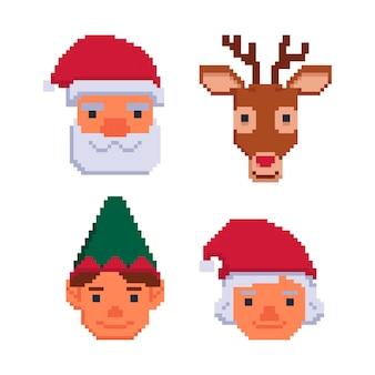 Kolekcja świątecznych awatarów na białym tleilustracja wektorowa w sztuce pikseli