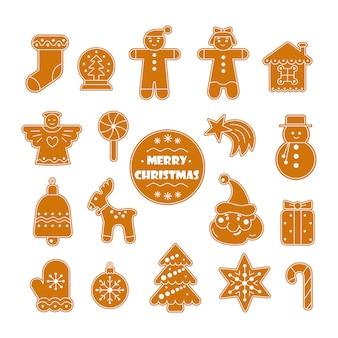 Kolekcja świątecznych ciasteczek z piernikami z bałwankiem w rękawiczce śnieżka ozdobiona glazurą