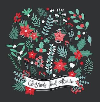 Kolekcja świątecznych dekoracji kwiatowych.