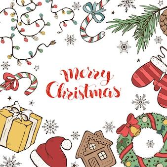 Kolekcja świątecznych doodli