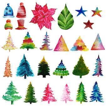 Kolekcja świątecznych elementów akwarela