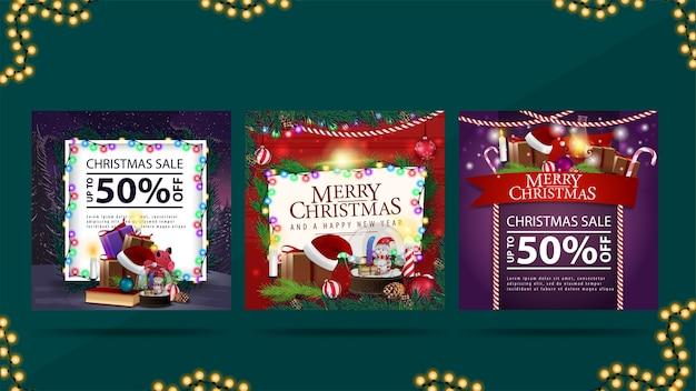 Kolekcja świątecznych elementów sieci. świąteczny baner rabatowy i świąteczna kartka z życzeniami ze stosami prezentów