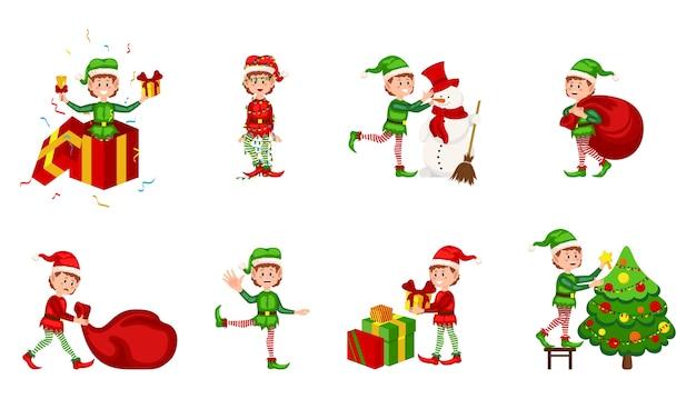 Kolekcja świątecznych elfów na białym tle. elf świąteczny w różnych pozycjach. kreskówka pomocników świętego mikołaja, urocze krasnoludki zabawne postacie, pomocnik santas, świąteczna mała zielona fantazja