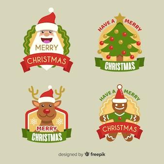 Kolekcja świątecznych etykiet w płaskiej konstrukcji