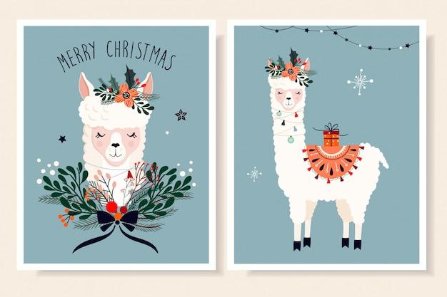 Kolekcja świątecznych kart okolicznościowych z lamą i elementami sezonowymi