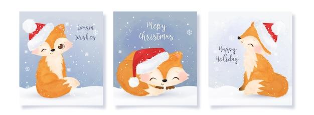 Kolekcja świątecznych kart okolicznościowych z uroczymi lisami