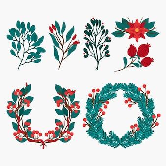 Kolekcja świątecznych kwiatów i wieńców w płaskiej konstrukcji