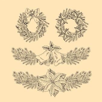 Kolekcja świątecznych kwiatów i wieńców w stylu vintage