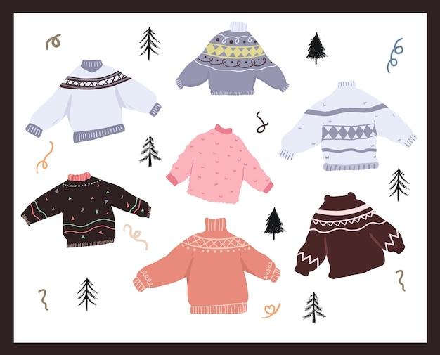 Kolekcja świątecznych obchodów świątecznych zestaw naklejek brzydki sweter gryzmoły