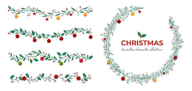 Kolekcja świątecznych płaskich elementów dekoracyjnych wieniec