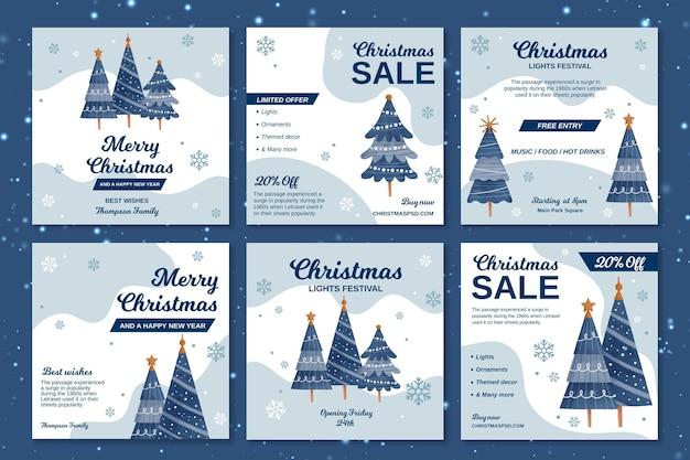 Kolekcja świątecznych postów na instagramie