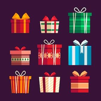 Kolekcja świątecznych prezentów w płaskiej konstrukcji