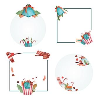 Kolekcja świątecznych ramek akwarela