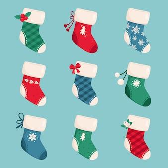 Kolekcja świątecznych skarpet. wesołych świąt